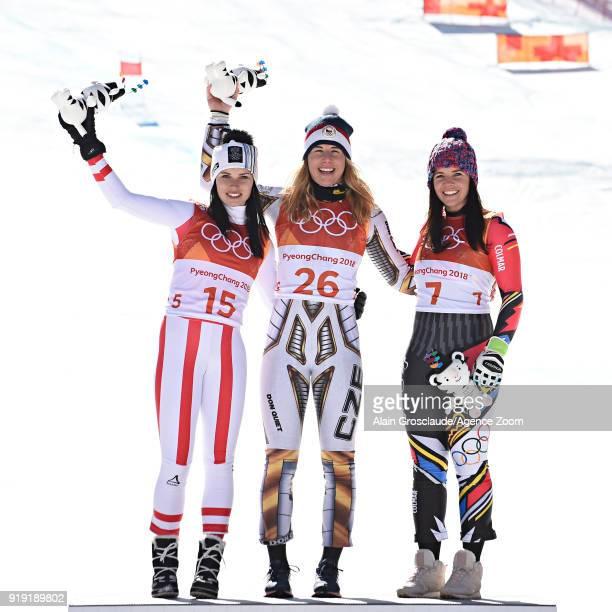 Anna Veith of Austria wins the silver medal Ester Ledecka of Czech Republic wins the gold medal Tina Weirather of Liechtenstein wins the bronze medal...