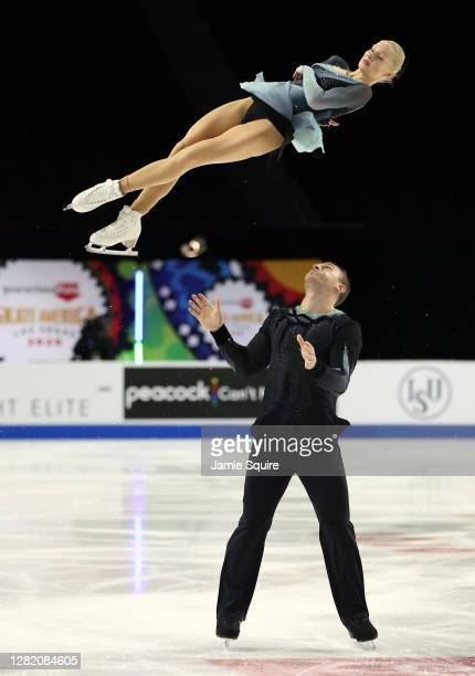 Anna Vernikov and Evgeni Krasnopolski of Israel compete in the Pairs Free Skating program during the ISU Grand Prix of Figure Skating at the Orleans...