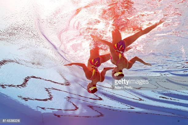 Anna Voloshyna and Valyzaveta Yakhno of Ukraine competes during the Womens Synchronised Duet Technical Preliminary round on day one of the Budapest...