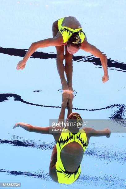 Anna Voloshyna of Ukraine competes during the Synchronised Swimming Solo Free preliminary round on day four of the Budapest 2017 FINA World...