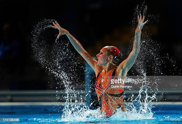 Anna Voloshyna of Ukraine competes in the Synchronized Swimming Solo Technical final on day one of the 15th FINA World Championships at Palau Sant...