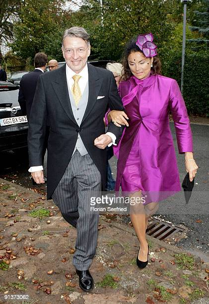 Anna von Griesheim and Andreas Marx arrive for the church wedding of Barbara Schoeneberger and Maximilian von Schierstaedt at the church of Rambow on...