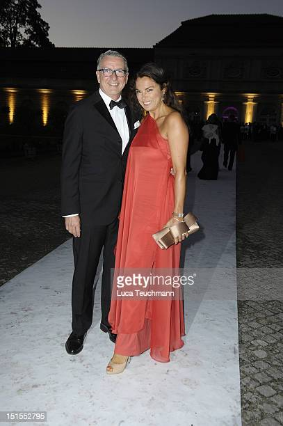 Anna von Griesheim and Andreas Marx arrive for the wedding party at at Charlottenburg Palace on September 8 2012 in Potsdam Germany