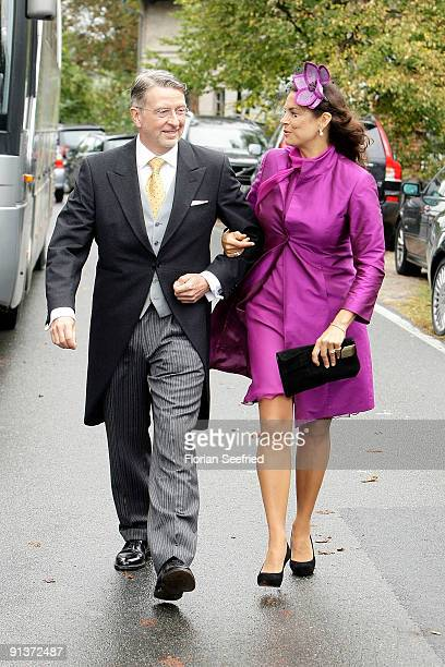 Anna von Griesheim and husband Andreas Marx arrive for the church wedding of Barbara Schoeneberger and Maximilian von Schierstaedt at the church of...