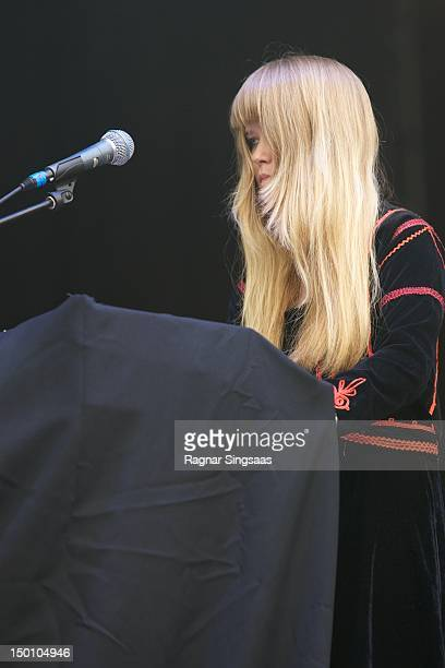 Anna von Hausswolff performs on stage during day 2 of the Way Out West Festival at Slottsskogen on August 10 2012 in Gothenburg Sweden
