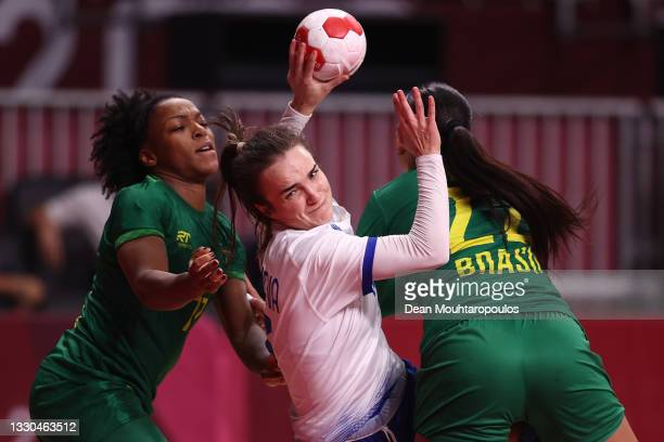 Anna Vyakhireva of Team ROC shoots at goal during the Women's Preliminary Round Group B match between ROC and Brazil on day two of the Tokyo 2020...