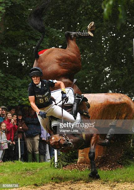 Anna Warnecke of Germany takes a huge fall at the 25th jump as she competes on her horse Twinkle Bee during cross country on day three of The Land...