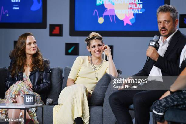 """Anna Waterhouse, Kristen Stewart and Benedict Andrews attend the """"Seberg"""" press conference during the 2019 Toronto International Film Festival at..."""