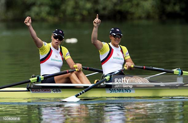 Anna Watkins and Katherine Grainger of Great Britain celebrate after winning gold in the Women's Double Sculls Final at the FISA Rowing World Cup on...