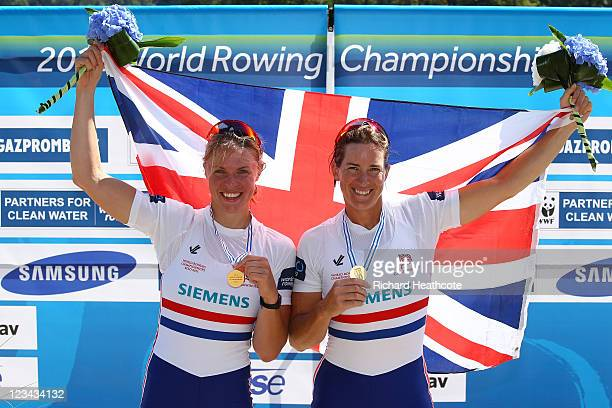 Anna Watkins and Katherine Grainger of Great Britain celebrate winning the Women's Double Sculls final during day seven of the FISA Rowing World...