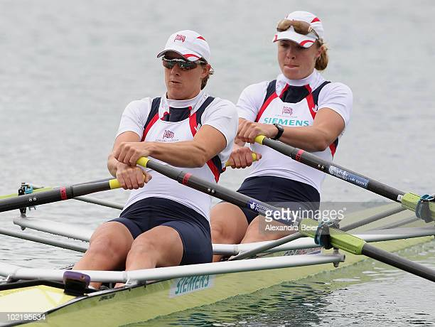 Anna Watkins and Katherine Grainger of Great Britain row in the women's double sculls qualification heat of the FISA Rowing World Cup on June 18 2010...