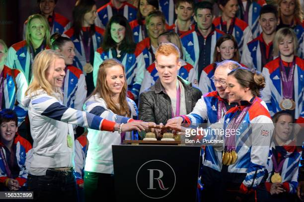 Anna Watkins Helen Glover Greg Rutherford Barney Storey and Sarah Storey switch on the Regent Street Christmas Lights at Regent Street on November 13...
