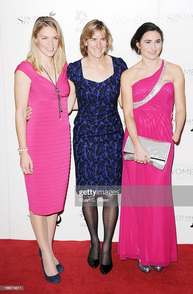 Anna Watkins, Katherine Grainger and Sarah Storey attend The Daily Mail Inspirational Women of the Year Awards sponsored by Sanctuary Spa and in aid of Wellbeing of Women at Marriott Hotel Grosvenor Square on November 12, 2012 in London, England.