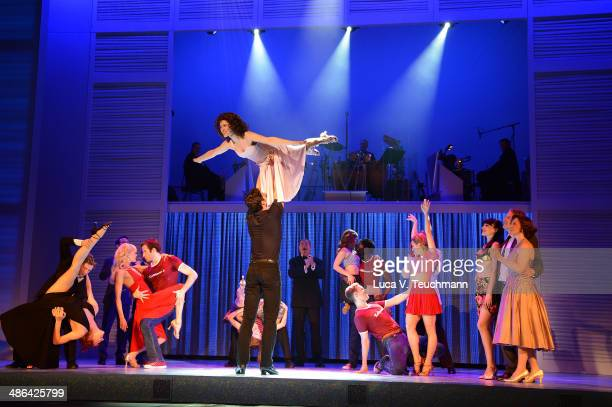 Anna Weihrauch and Mate Gyenei perform 'Dirty Dancing' Musical Photocall at Admiralspalast on April 24, 2014 in Berlin, Germany.