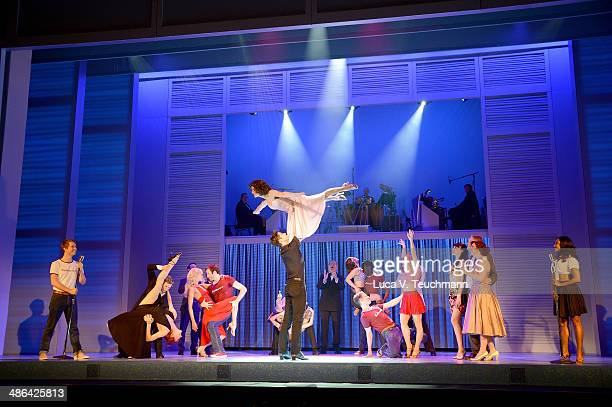 Anna Weihrauch and Mate Gyenei perform 'Dirty Dancing' Musical Photocall at Admiralspalast on April 24 2014 in Berlin Germany