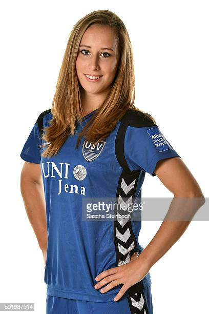 Anna Weiss of USV Jena poses during the Allianz Women's Bundesliga Club Tour on August 18 2016 in Jena Germany