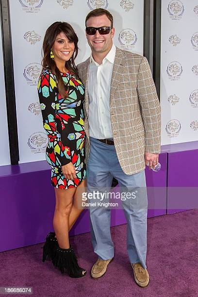 Anna Welker and Wes Welker arrive at the 30th Annual Breeder's Cup 'Songs in the Saddle' concert at Santa Anita Park Racetrack on November 2 2013 in...