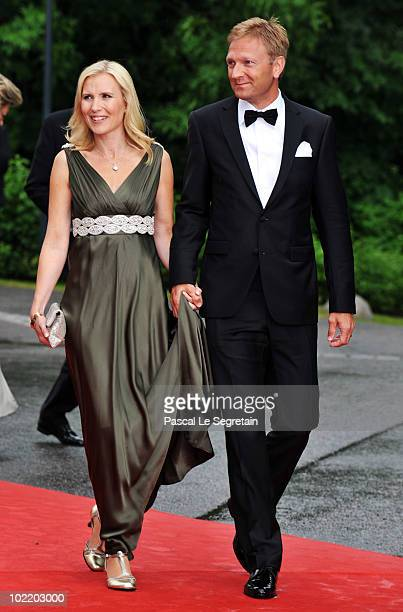 Anna Westling Blom and Mikael Soderstrom attend the Government PreWedding Dinner for Crown Princess Victoria of Sweden and Daniel Westling at The...