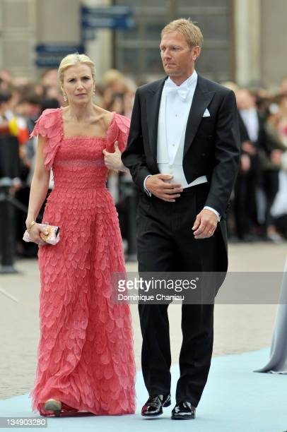 Anna Westling Blom and partner Mikael Soderstrom attend the wedding of Crown Princess Victoria of Sweden and Daniel Westling on June 19 2010 in...