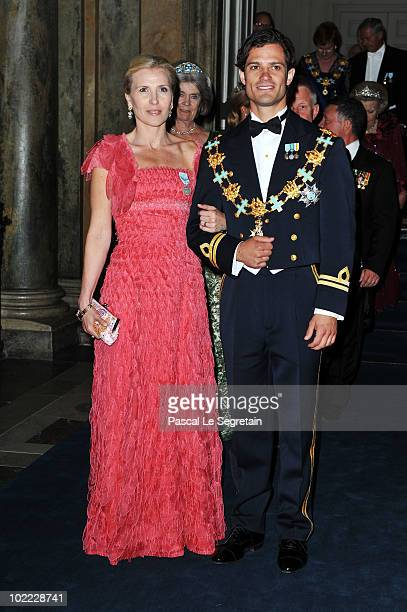 Anna Westling Blom and Prince Carl Philip of Sweden attend the Wedding Banquet for Crown Princess Victoria of Sweden and her husband prince Daniel at...