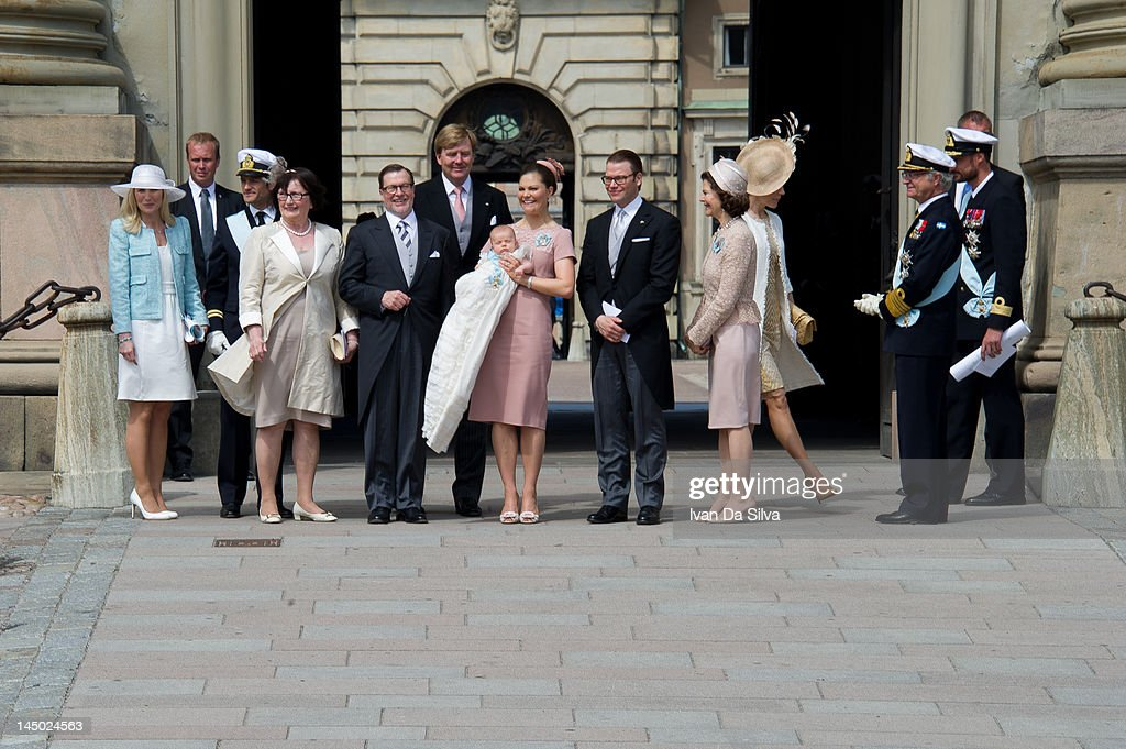 Anna Westling, Prince Carl Philip of Sweden, Ewa Westling, Olle Westling, Prince Willem-Alexander of the Netherlands, Princess Victoria of Sweden, Princess Estelle of Sweden, Prince Daniel of Sweden, Princess Mary of Denmark and Queen Silvia of Sweden and King Carl XVI Gustaf of Sweden attend the christening of Princess Estelle Silvia Ewa Mary of Sweden at The Royal Palace on May 22, 2012 in Stockholm, Sweden.