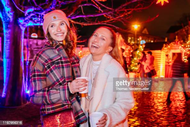 Anna Wilken and Michi Brandl are seen prior to the #PrimeXmasLive Coming Home for Christmas Concert with Mark Forster on December 09 2019 in...