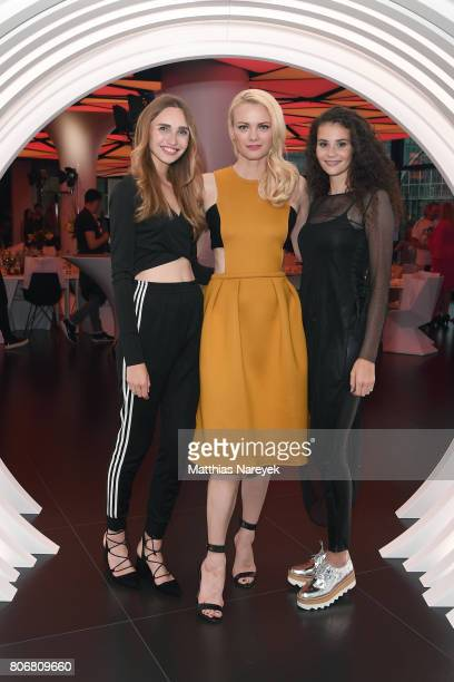 Anna Wilken Franziska Knuppe and Betty Taube during the Marcell von Berlin 'Genesis' collection presentation on July 3 2017 in Berlin Germany