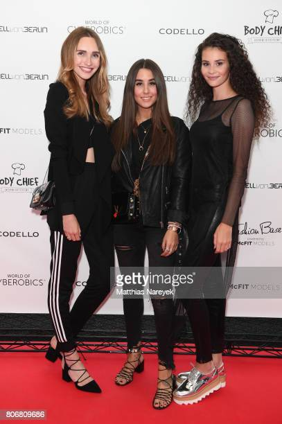 Anna Wilken Janina Who and Betty Taube during the Marcell von Berlin 'Genesis' collection presentation on July 3 2017 in Berlin Germany