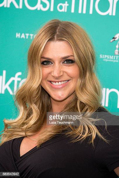 Anna Williamson arrives for the opening night of Breakfast at Tiffany at Theatre Royal on July 26 2016 in London England
