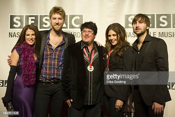Anna Wilson Charles Kelley Monty Powell Hillary Scott and Dave Haywood of Lady Antelbellum attend the 2010 SESAC Nashville Music awards dinner at...