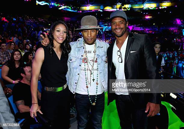 Anna Wilson recording artist Pharrell Williams and NFL player Russell Wilson attend Nickelodeon Kids' Choice Sports Awards 2014 at UCLA's Pauley...