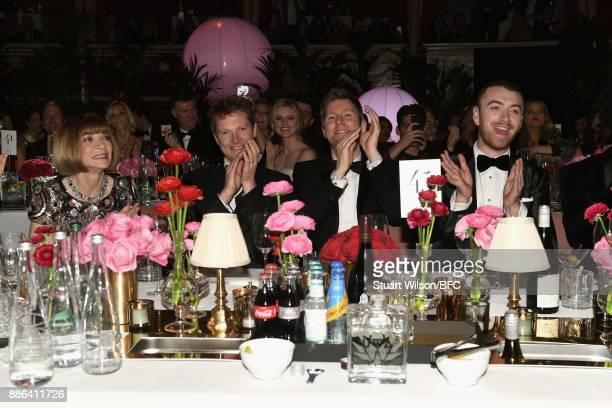 Anna Winour a guest Christopher Bailey MBE and Sam Smith during The Fashion Awards 2017 in partnership with Swarovski at Royal Albert Hall on...
