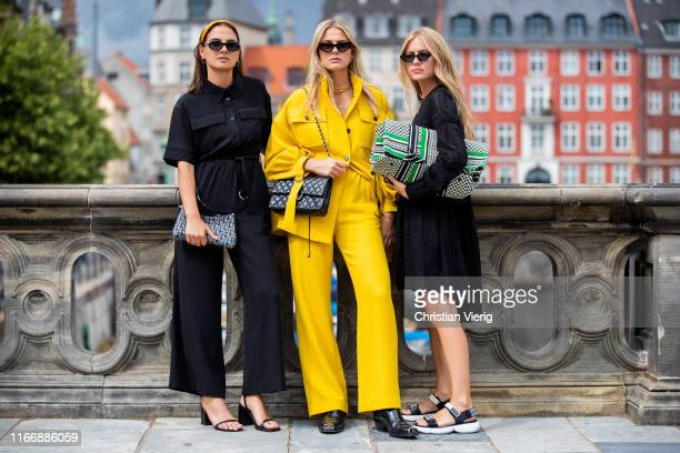 Anna Winter, Alessa Winter and Olja Ryzevski seen outside Lala Berlin during Copenhagen Fashion Week Spring/Summer 2020 on August 08, 2019 in...