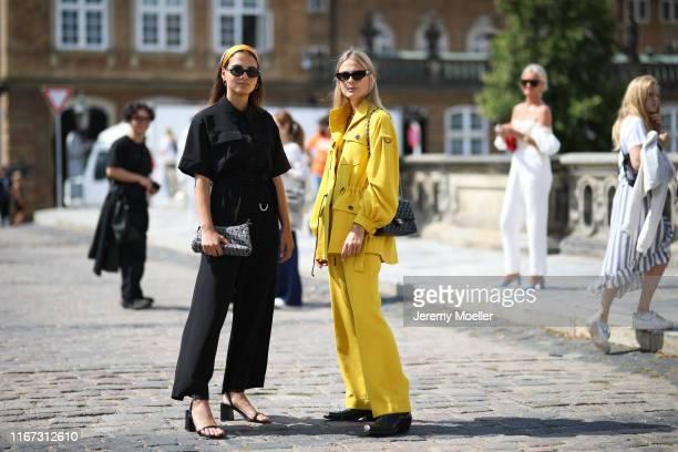 Anna Winter & Alessa Winter wearing Lala Berlin on August 08, 2019 in Copenhagen, Denmark.