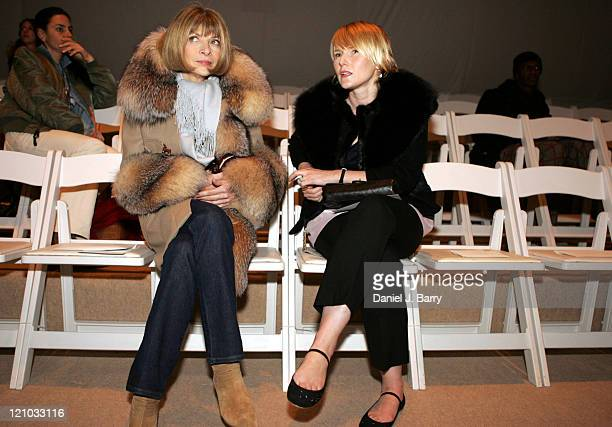 Anna Wintour and Amy Astley during Olympus Fashion Week Fall 2006 Bryan Bradley Front Row and Backstage at Bryant Park in New York City New York...