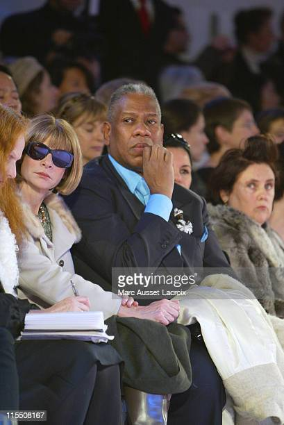 Anna Wintour and Andre Leon Talley during Paris Fashion Week Haute Couture Spring/Summer 2007 Christian Lacroix Front Row at Palais de Tokyo in Paris...