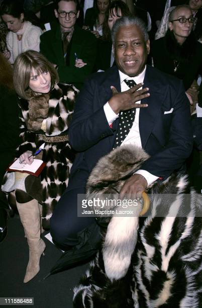 Anna Wintour and Andre Leon Talley during Paris Fashion Week Ready to Wear Fall/Winter 2005/2006 Rochas Front Row in Paris France