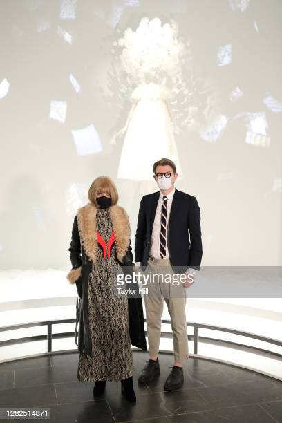 Anna Wintour and Andrew Bolton attend the press preview for the Costume Institute's annual exhibition About Time Fashion and Duration sponsored by...