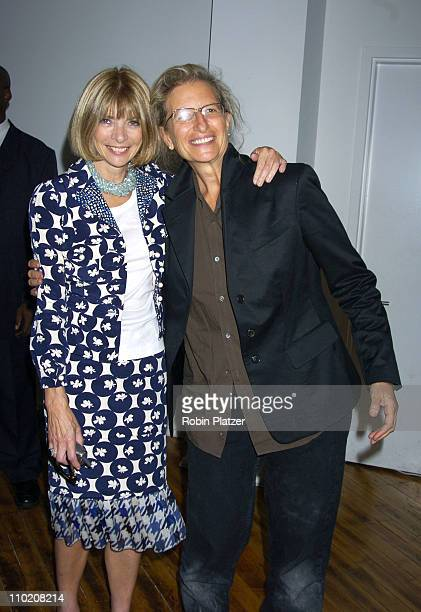 Anna Wintour and Annie Leibovitz during Ann Taylor 50th Anniversary Celebration with Vogue at Chelsea Art Museum in New York City NY United States