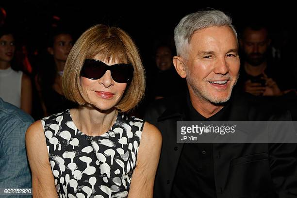 Anna Wintour and Baz Luhrmann attend the Alexander Wang Spring 2017 fashion show during New York Fashion Week September 2016 at Pier 94 on September...