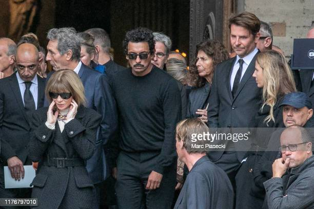 Anna Wintour and Bradley Cooper attend Peter Lindbergh's funeral at Eglise Saint-Sulpice on September 24, 2019 in Paris, France.