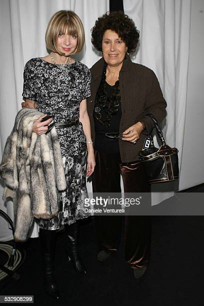 Anna Wintour and Carla Fendi during Milan Fashion Week Fall/Winter 2007 Fendi Front Row and Backstage at Carrousel du Louvre in Milan Italy