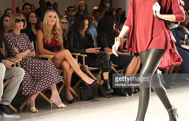 Anna Wintour and Caroline Wozniacki attend the Serena Williams Signature Statement by HSN fashion show during Style360 Spring 2015 at Metropolitan...