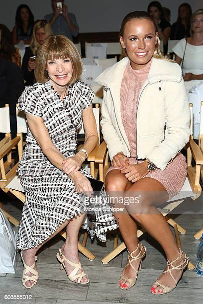 Anna Wintour and Caroline Wozniacki attend the Serena Williams Signature Statement Collection By HSN during Style360 Fashion Week at Metropolitan...