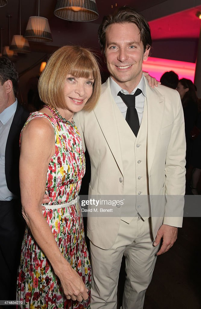Anna Wintour (L) and cast member Bradley Cooper attend an after party celebrating the VIP Gala Preview of 'The Elephant Man' at The Haymarket Hotel on May 26, 2015 in London, England.