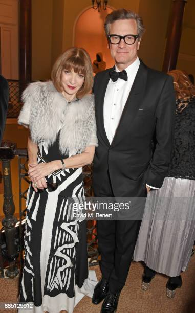 Anna Wintour and Colin Firth attend a drinks reception ahead of the London Evening Standard Theatre Awards 2017 at the Theatre Royal Drury Lane on...