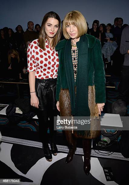 Anna Wintour and daughter Bee Shaffer attend the Diane Von Furstenberg fashion show during MercedesBenz Fashion Week Fall 2014 at Spring Studios on...