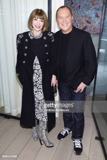 Anna Wintour and designer Michael Kors attend the Michael Kors Collection Fall 2017 runway show at Spring Studios on February 15, 2017 in New York...