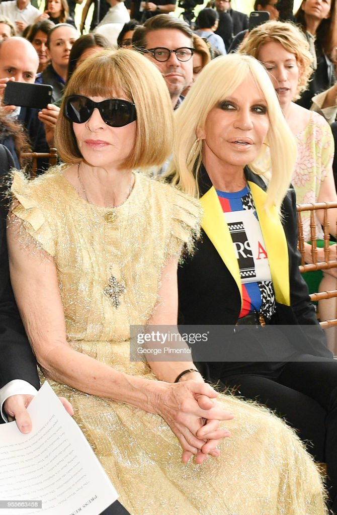 Anna Wintour and Donatella Versace attend the Heavenly Bodies: Fashion & The Catholic Imagination Costume Institute Gala Press Preview at The Metropolitan Museum of Art on May 7, 2018 in New York City.