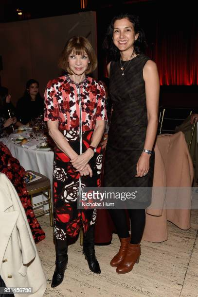 Anna Wintour and Editor in Chief of Vanity Fair Radhika Jones attend the Ellie Awards 2018 on March 13 2018 in New York City